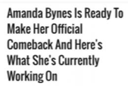 Amanda Bynes Honest Comeback!