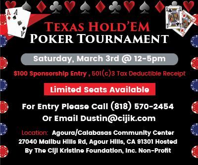 CIJIK Texas Hold'Em Tournament Sponsorship-March 3rd